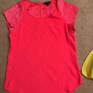 Express Short Sleeve Pink Blouse with Sparkles
